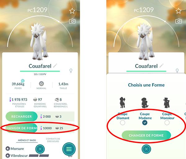 Fonctionnalité Changement de Forme Pokémon GO